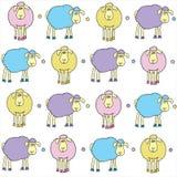 Sheeps coloreó Stock de ilustración