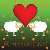 Sheeps de las tarjetas del día de San Valentín Imagen de archivo