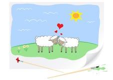 Sheeps do amor do desenho Foto de Stock Royalty Free