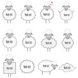 Sheeps en lammeren met kaders voor nota en tekst op een witte achtergrond stock illustratie