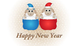 Sheeps 2015. Funny white sheeps - symbol of New 2015 Year Stock Images
