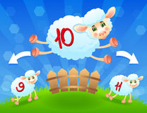 Sheeps Jump Over Fence. Vector Royalty Free Stock Images