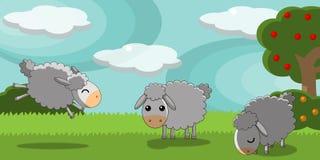 Sheeps lindos en un paisaje del campo ilustración del vector