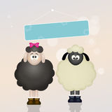 Sheeps in love. Cute illustration of Wedding sheeps Royalty Free Stock Photo