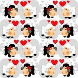 Sheeps in love Valentine seamless background Royalty Free Stock Photos