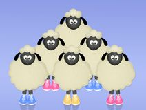 Sheeps with shoes. Funny illustration of sheeps with shoes Stock Photo