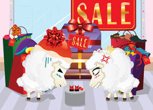 Sheeps on Shopping Royalty Free Stock Photo