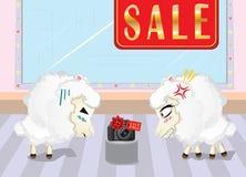Sheeps on Shopping Stock Photo