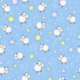 Sheeps in Star Sky Seamless Pattern Royalty Free Stock Photo