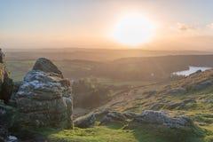 Sheeps tor at sunset stock photos