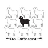 Sheeps in vector format for T-shirt design. With slogan Be Different vector illustration