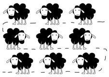 Sheeps walking. In a line illustration stock illustration