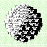 Sheeps.Yin-yang. The image on the basis of the famous Taoist sym. Cartoon symbol of yin-yang of the funny black and white sheep Stock Photo