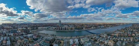 Sheepshead Bay - Brooklyn, NY. Panoramic aerial view of the Sheepshead Bay neighborhood of Brooklyn, New York royalty free stock images