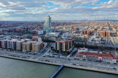 Sheepshead Bay - Brooklyn, NY. Panoramic aerial view of the Sheepshead Bay neighborhood of Brooklyn, New York royalty free stock photography