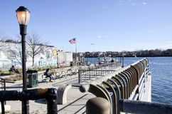 Sheepshead Bay. The waterfront park on Emmons Avenue in the Sheepshead Bay neighborhood of Brooklyn in New York City royalty free stock photography