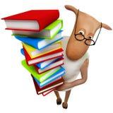 Sheepy con los libros Imagen de archivo libre de regalías