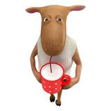 Sheepy drinking milk Royalty Free Stock Photography