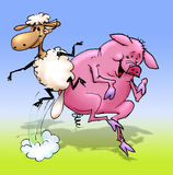Sheepy and Piggy dancing. Cartoon drawing of sheep and a pig dancing and jumping stock illustration