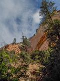 Sheer Cliffs around Echo Amphitheater. Echo Amphitheater is a natural, colorful geological feature combined with unusual auditory properties located in Tierra royalty free stock images