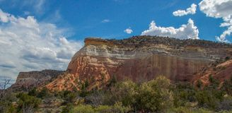 Sheer Cliffs around Echo Amphitheater. Echo Amphitheater is a natural, colorful geological feature combined with unusual auditory properties located in Tierra stock photography