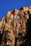 Sheer cliffs confine the Virgin River. On the forested Riverside Walk in Zion National Park, Utah Stock Image