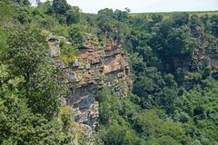 SHEER CLIFFS IN ORIBI GORGE CANYON. View of cliffs and vegetation on far side of Oribi Gorge canyon wall in Kwazulu Natal Royalty Free Stock Image