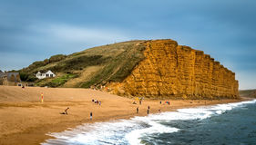 Sheer Drop Cliffs. East Cliff West Bay Stock Photos