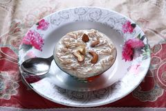 Sheer Khurma, vermicelli dessert. Sheer Khurma is a festival vermicelli pudding prepared by Muslims all across the world. It is a traditional Muslim dessert for stock images