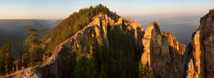 Sheer limestone cliffs and forest. Royalty Free Stock Photography
