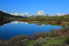 Grand Teton Range reflected in Oxbow Bend of Snake River, Grand Teton National Park, Wyoming stock photos