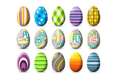 Sheet of 15 Colored Easter Eggs. 15 colorfully painted easter eggs in a on a sheet Stock Photos