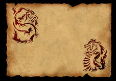 Sheet of ancient parchment with a two dragons Stock Photography