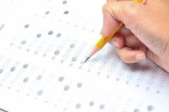 Sheet with answers. Test score sheet with answers stock image