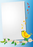 Sheet with bird song Royalty Free Stock Image