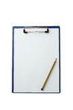 Sheet of blank paper on holder on a white background Stock Photography