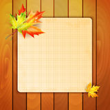 Sheet in a cage and autumn maple leaves Stock Images