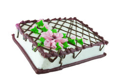 Sheet Cake. Decorated with pink flowers isolated on white Royalty Free Stock Image