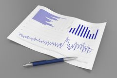 Sheet with Charts and Pen Royalty Free Stock Photography