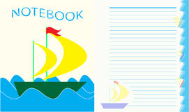 Sheet for children`s notebook, boat on the waves. EPS10 Royalty Free Stock Photo