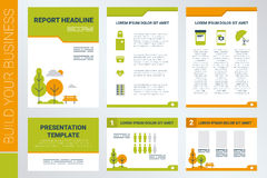 A4 sheet cover and presentation template in green theme. Background of A4 sheet cover and presentation template in green theme with flat design elements, ideal Stock Photography