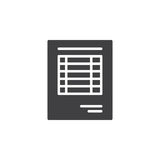 Sheet document icon vector. Filled flat sign, solid pictogram isolated on white. Invoice symbol, logo illustration Royalty Free Stock Image