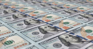 Sheet of 100 dollar notes. Uncut sheet of printed 100 dollar notes Royalty Free Stock Photography