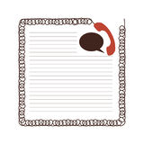 Sheet with draw handset and dialog box. Illustration Royalty Free Stock Images