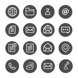 Sheet email call line global communication line icon set. Sheet email call line global communication line icon collction set Stock Photo