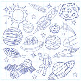 Sheet of exercise book with outer space doodles. Symbols and design elements, spaceships, ufo, planets, stars, rocket, astronauts, comets. Cartoon background Royalty Free Stock Photo