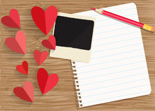 Sheet of exercise book, photo, red heart Stock Photography