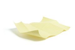 Sheet of Folded Yellow Paper Royalty Free Stock Images