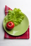 Sheet Green Lettuce And Red Tomato Stock Photo