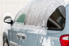 Sheet of ice on a car Stock Photo